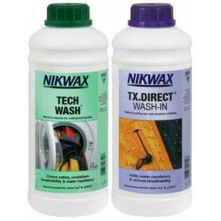Nikwax Tech Wash/TX Direct Wash in Waterproofing Twin Pack 1 Litre